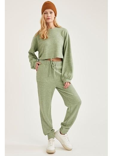 DeFacto Oversize Crop Sweatshirt Turkuaz